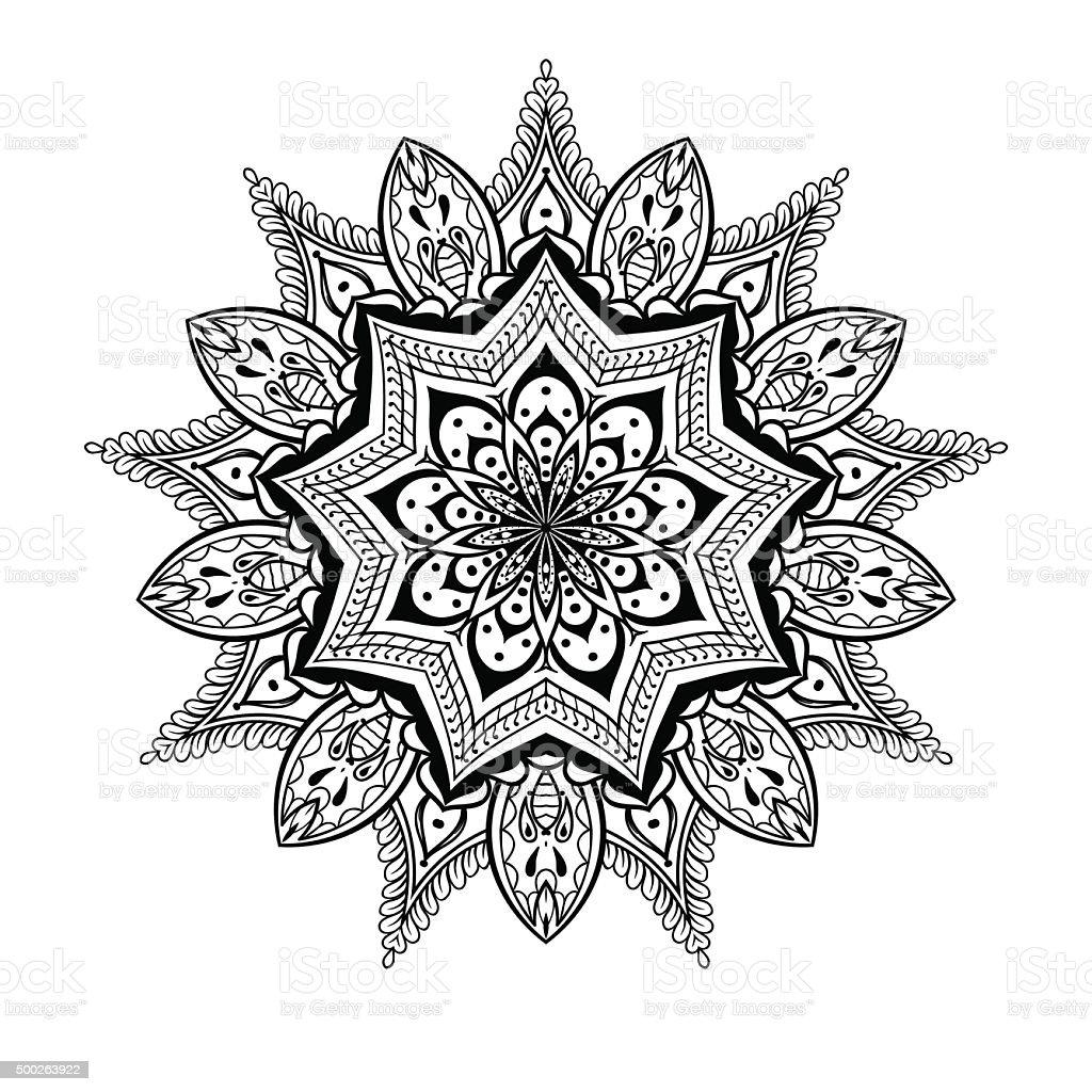 Vector Ornamental Lotus Mandala Ethnic Henna Tattoo Stock Vector Art ...