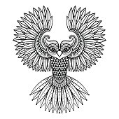 Vector ornamental Owl, ethnic mascot, amulet, mask of