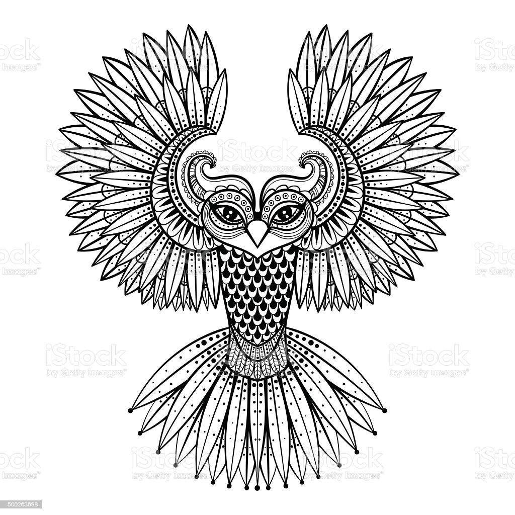 Vector ornamental Owl, ethnic mascot, amulet, mask of vector art illustration