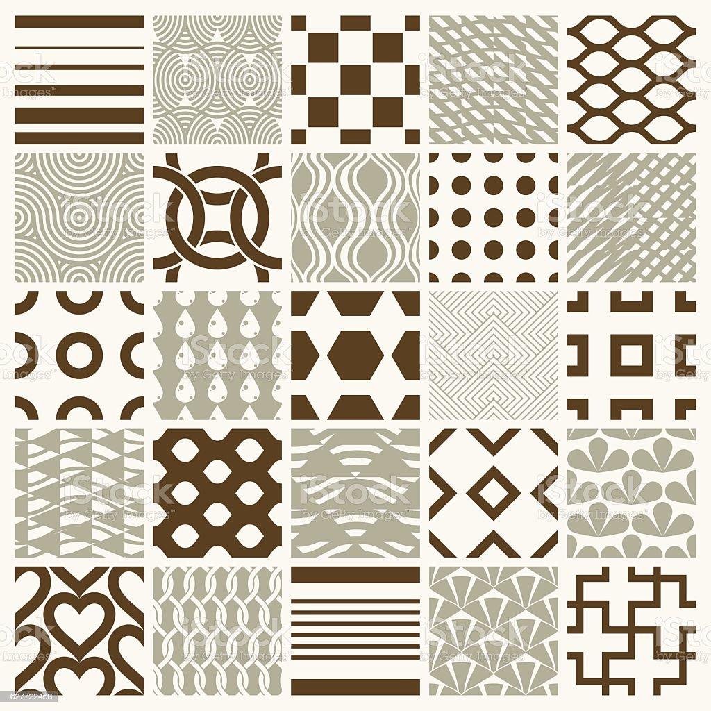 Vector ornamental seamless backdrops set, geometric patterns col vector art illustration