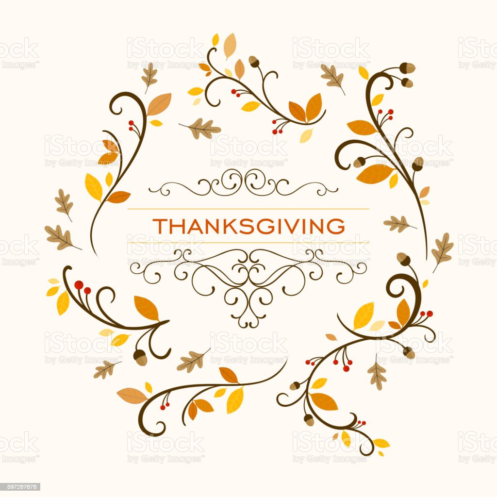 Vector Ornamental Thanksgiving Background Design Lizenzfreies vector ornamental thanksgiving background design stock vektor art und mehr bilder von abstrakt
