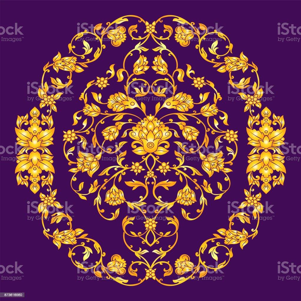 Vector ornate elemen in Eastern style on deep violet background. Ornamental vintage floral decoration for wedding invitations and greeting cards. Traditional gold decor. vector art illustration
