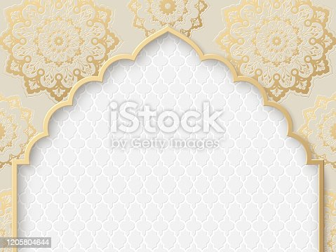 istock Vector ornate frame with indian, arabesque motif. 1205804644
