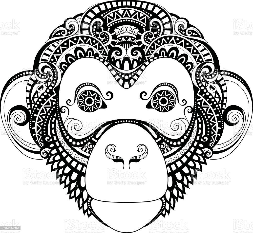 Ornamentado Cabeza De Mono Vector - Arte vectorial de stock y más ...