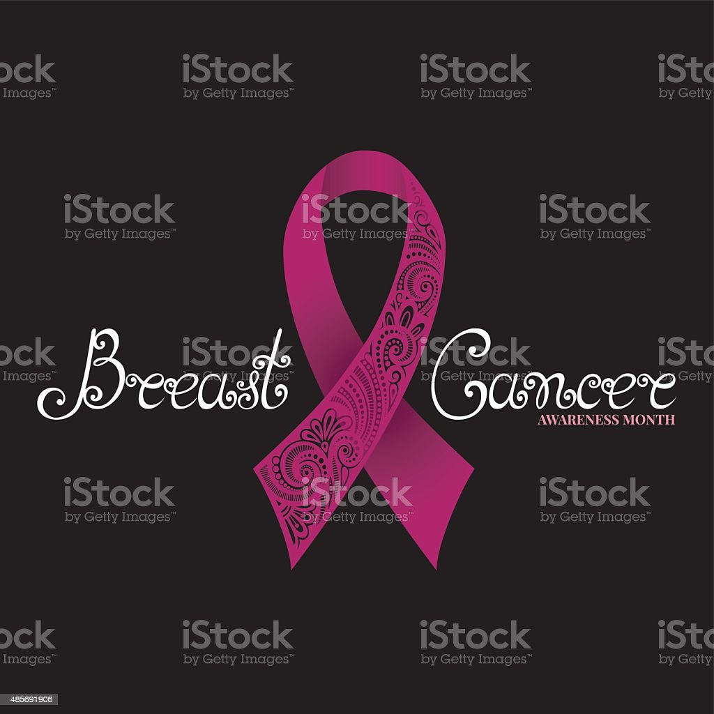 Vector Ornate Pink Ribbon of Breast Cancer on Black Background vector art illustration