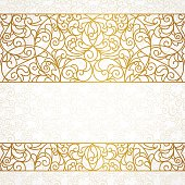 Vector ornate seamless border in Eastern style. Line art element for design, place for text. Ornamental vintage frame for wedding invitations and greeting cards. Traditional gold decor.