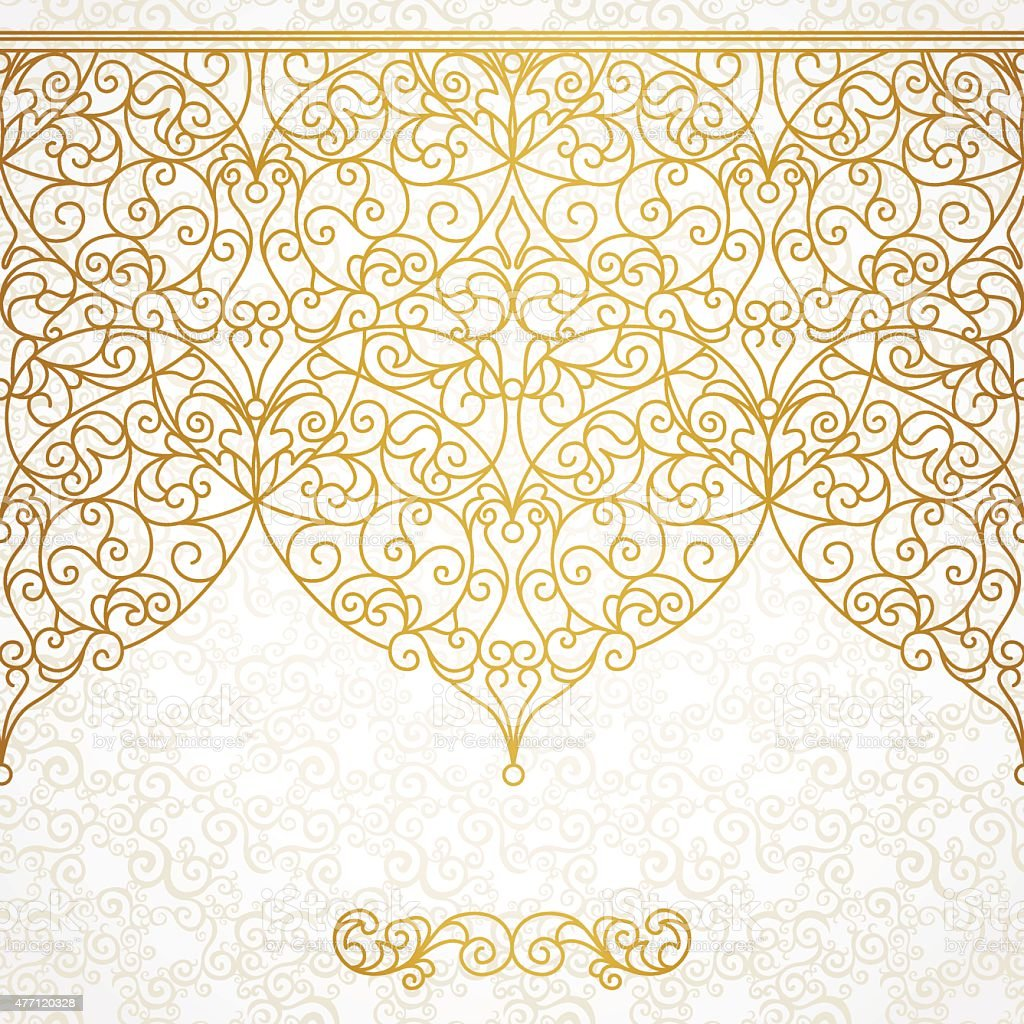 vector ornate seamless border in eastern style stock