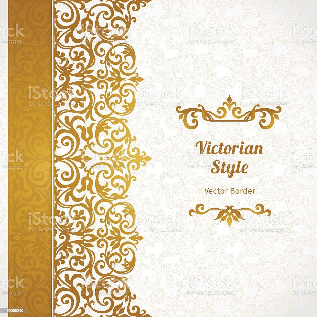 Vector ornate seamless border in Victorian style. vector art illustration