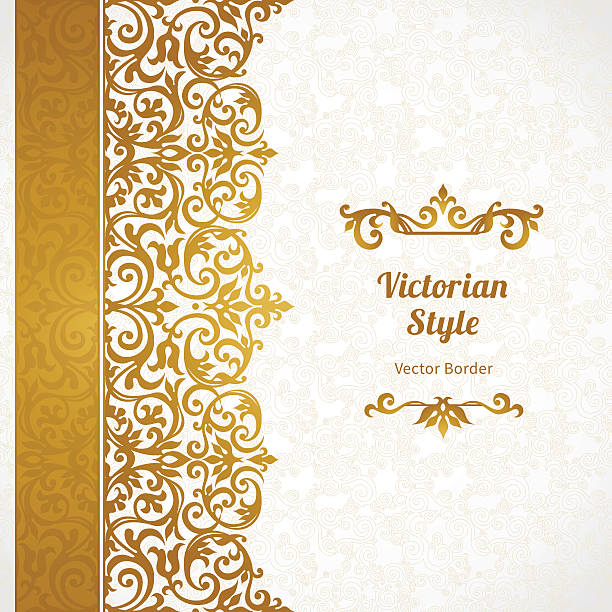 vector ornate seamless border in victorian style. - floral and decorative background stock illustrations