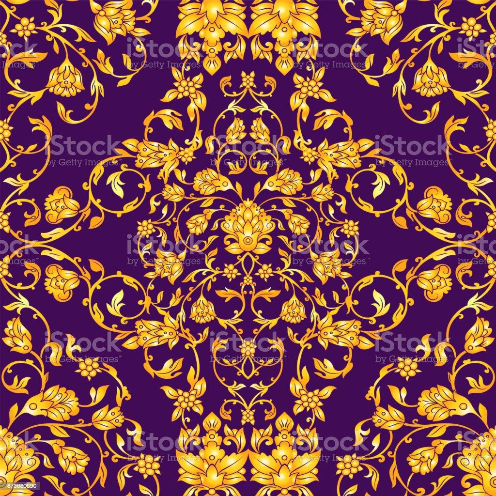 Vector ornate seamless pattern vector art illustration