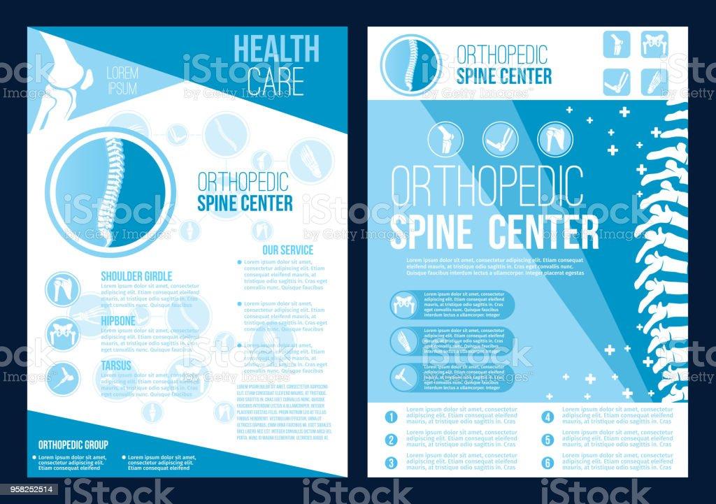 Vektor Orthopädie Wirbelsäule Gesundheit Zentrum Broschüre Stock ...