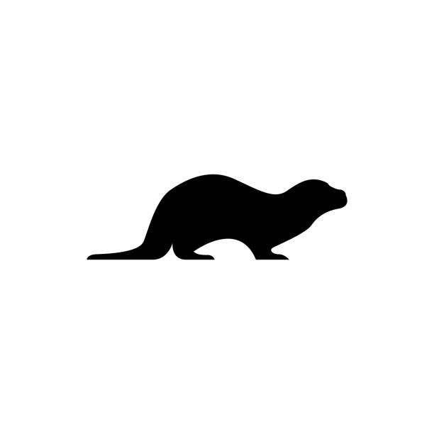 vector otter silhouette view side for retro icons, emblems, badges, labels template vintage design element. isolated on white background - otter stock illustrations, clip art, cartoons, & icons