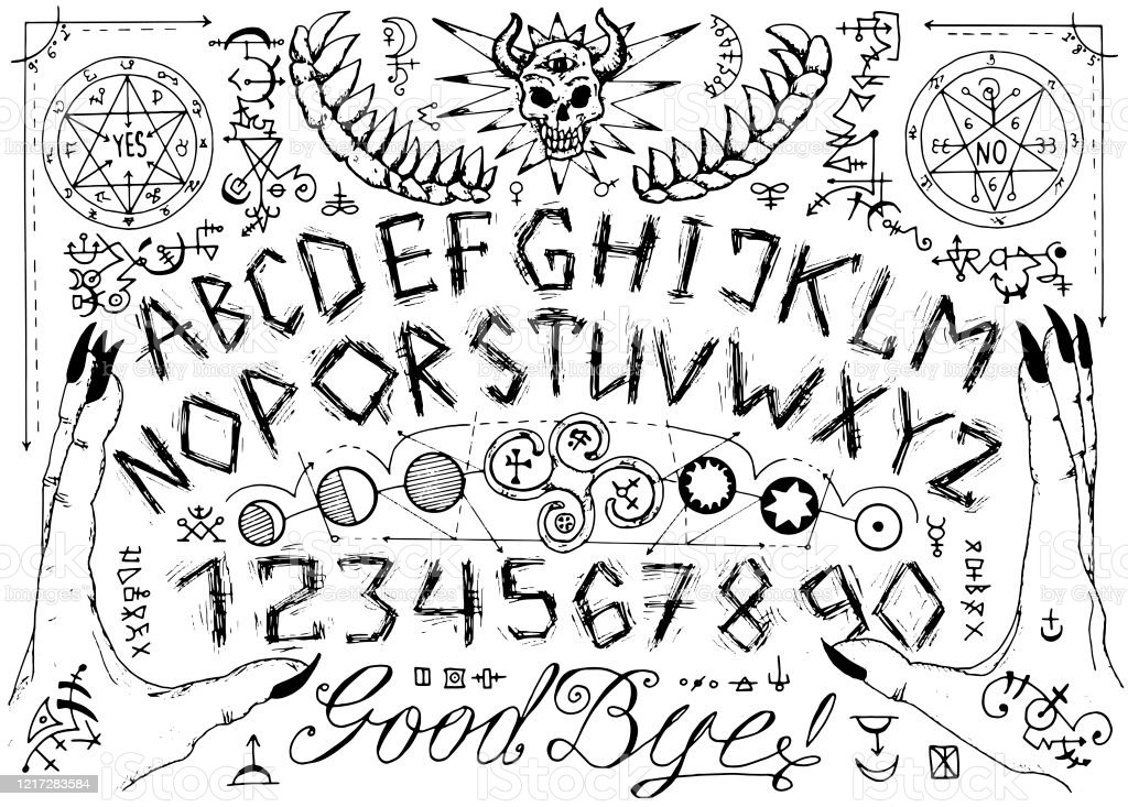 Vector Ouija spiritual board design with alphabet, magic seals, hands and alchemy signs. Vector Ouija spiritual board design with alphabet, magic seals, hands and alchemy signs. Esoteric, occult and sacred geometry illustration with mystic and gothic symbols Alchemy stock vector
