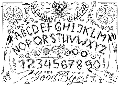 Vector Ouija Spiritual Board Design With Alphabet Magic Seals Hands And Alchemy Signs Stock Illustration - Download Image Now