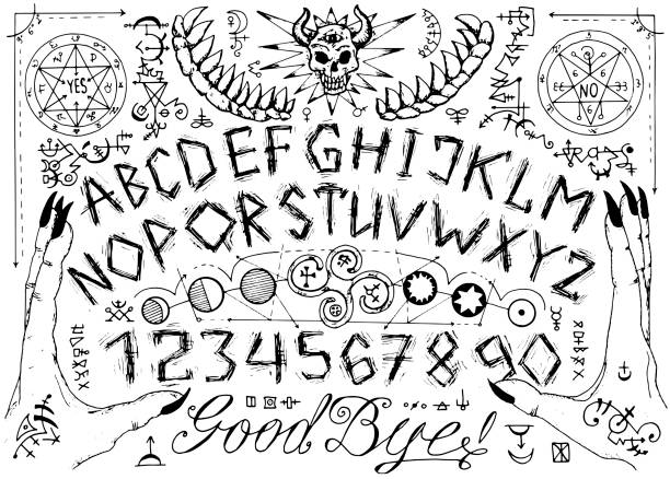 Vector Ouija spiritual board design with alphabet, magic seals, hands and alchemy signs. vector art illustration
