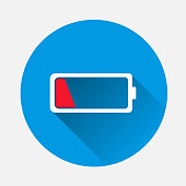istock Vector Out of battery charge on blue background. Flat image low red battery with long shadow. Layers grouped for easy editing illustration. For your design. 1057674222