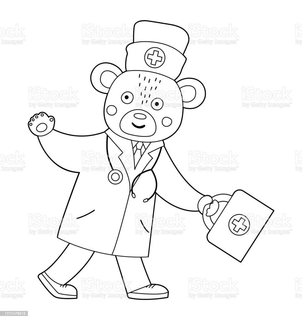 Vector Outline Bear Doctor Going With First Aid Kit And Waving His Hand  Cute Funny Animal