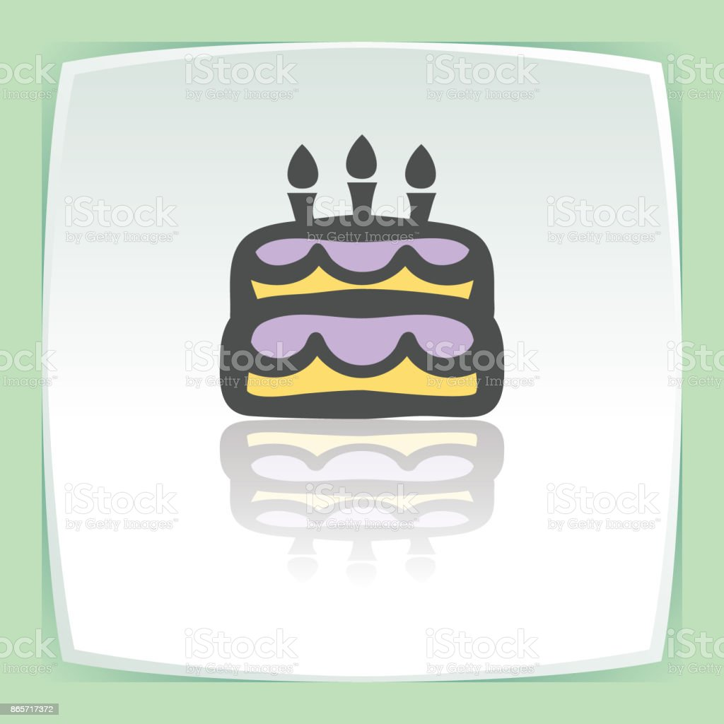 Vector Outline Birthday Cake With Candles Icon Modern Logo And