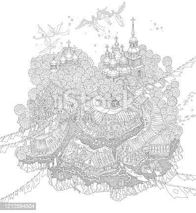 Vector outline contour fantasy landscape, fairy tale small town on the hill, flying angels carrying the human soul. Black and white T shirt print, Adults Coloring Book page