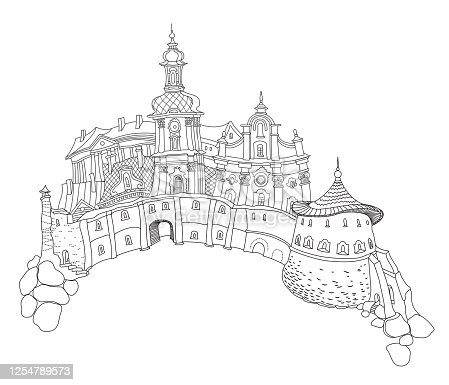 Vector outline contoured fantasy landscape, fairy tale small town medieval castle on the hill. Black and white T shirt print, Travel Brochure illustration, Adults Coloring Book page