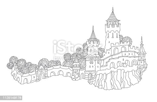 Vector outline contoured fantasy landscape, trees, fairy tale small town medieval castle on the hill. Black and white T shirt print, Brochure illustration, Adults Coloring Book page