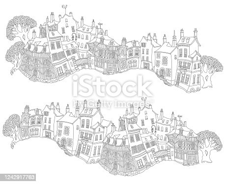 Vector outline contoured fantasy landscape, trees, fairy tale small town medieval buildings black and white background. T shirt print. Adults Coloring Book page