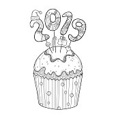 Vector outline cupcake with number 2019 in black isolated on white background. Concept of the 2019 year with contour decor for New Year holiday design and Christmas coloring book.