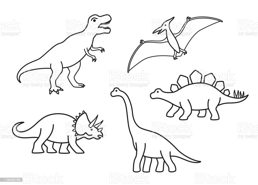 Vector Outline Dinosaurs Trex Brachiosaurus Pterodactyl Triceratops Stegosaurus Cute Flat Dinosaurs Isolated Stock Illustration Download Image Now Istock