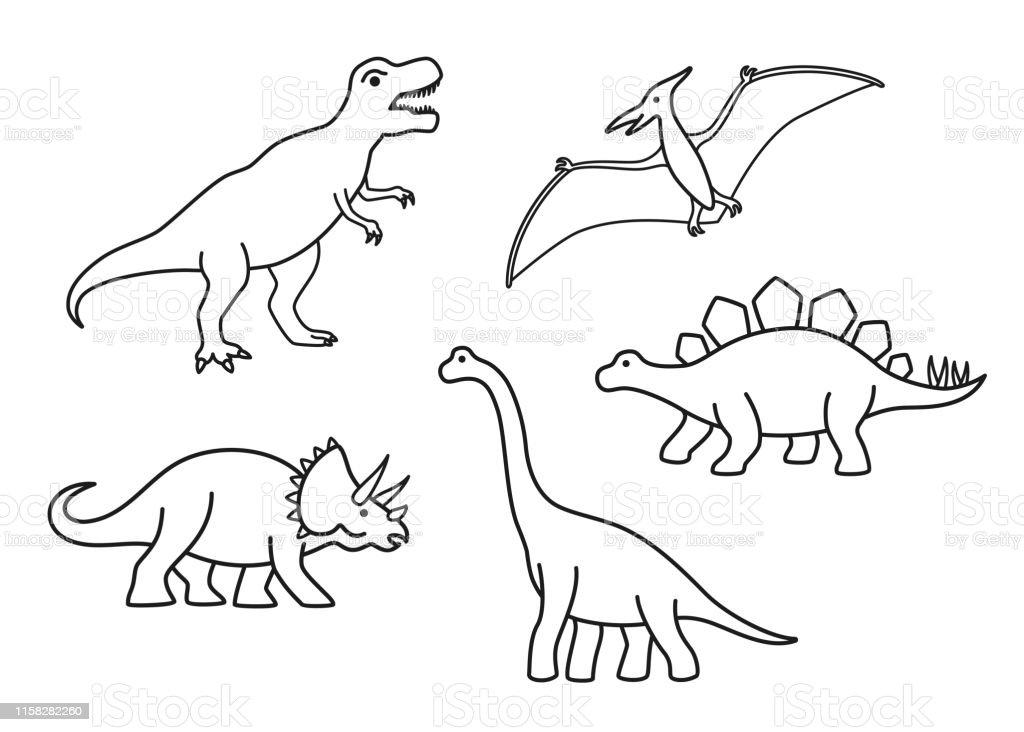 Vector Outline Dinosaurs Trex Brachiosaurus Pterodactyl Triceratops Stegosaurus Cute Flat Dinosaurs Isolated Stock Illustration Download Image Now Istock