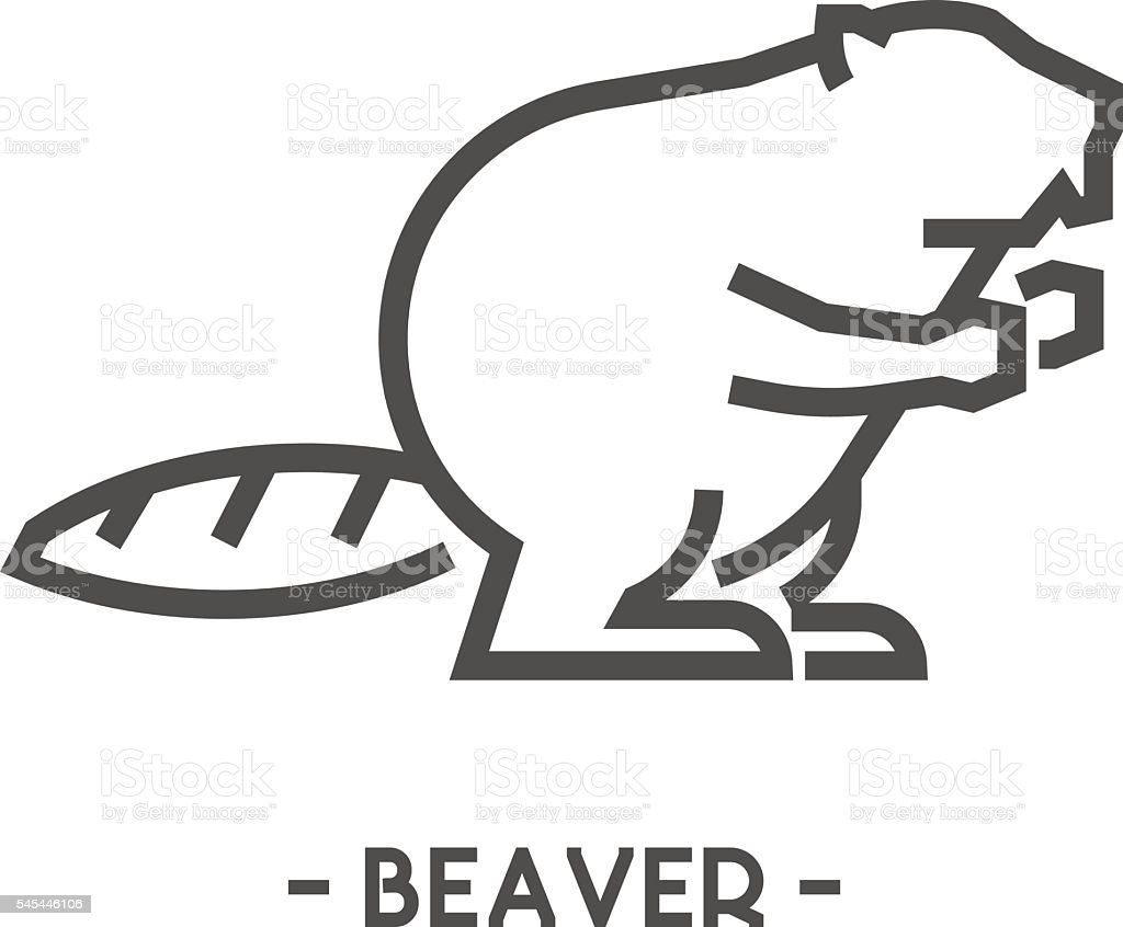 Vector outline figure of beaver vector art illustration