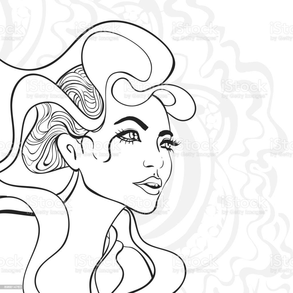 Vector outline girl portrait vector art illustration