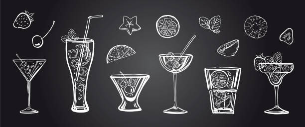 vector outline hand drawn illustration with different cocktails, fruits and mint leaves on blackboard background - koktajl alkoholowy stock illustrations