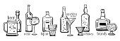 Vector outline hand drawn sketch illustration set with alcohol bottles, drink titles and glasses isolated on white background
