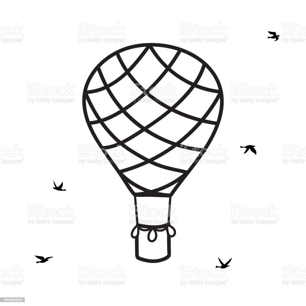 ilustração de balão de ar quente de contorno de vetor com pássaros e