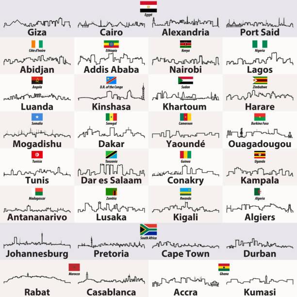 vektor-icons gliederung der afrikanischen städte skylines - salisbury stock-grafiken, -clipart, -cartoons und -symbole