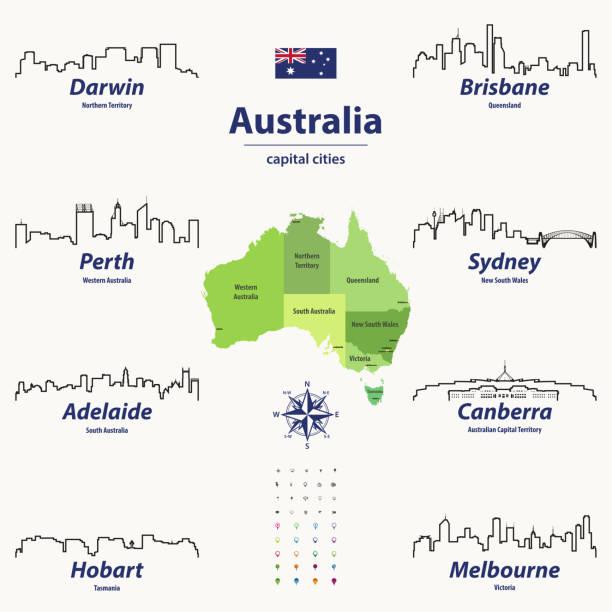 bildbanksillustrationer, clip art samt tecknat material och ikoner med vector disposition ikoner av australien städer horisonter med australiska karta och flagga - canberra skyline