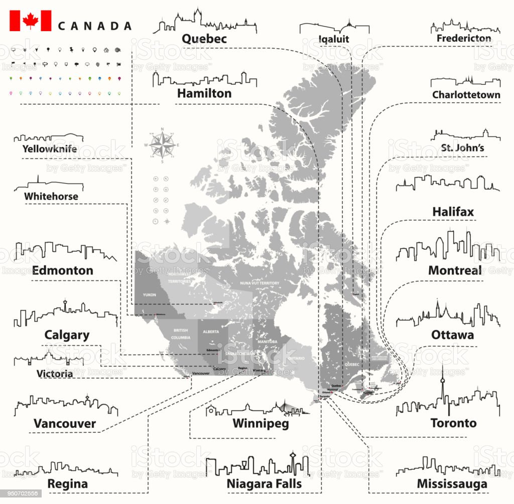 vector outline icons of Canada cities skylines with canadian map and flag vector art illustration