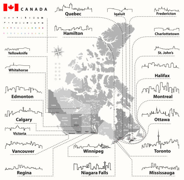 vector outline icons of Canada cities skylines with canadian map and flag vector outline icons of Australia city skylines mississauga stock illustrations
