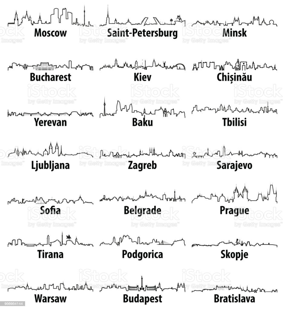 vector outline icons of East Europe cities skylines vector art illustration