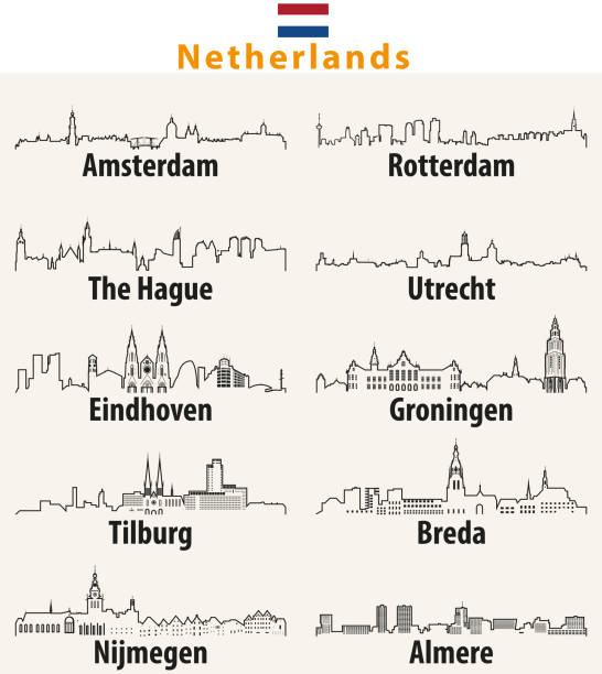 stockillustraties, clipart, cartoons en iconen met vector overzicht pictogrammen van nederlandse steden skylines - den haag