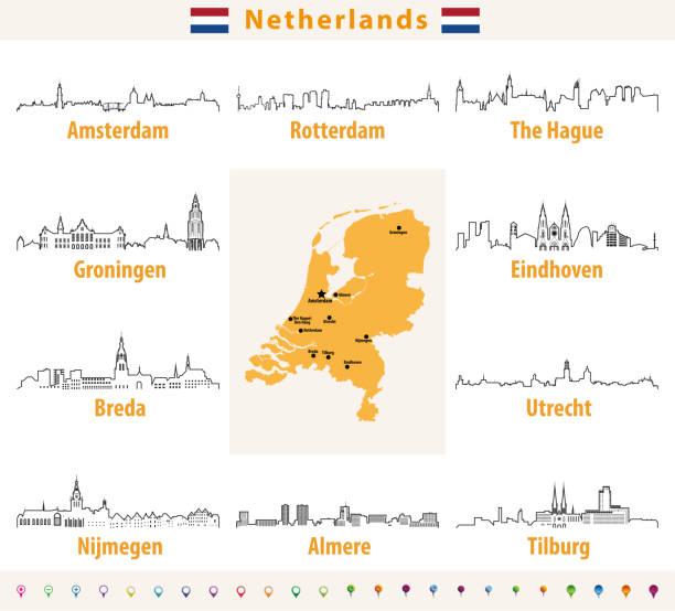 stockillustraties, clipart, cartoons en iconen met vector overzicht pictogrammen van nederlandse steden skylines - eindhoven
