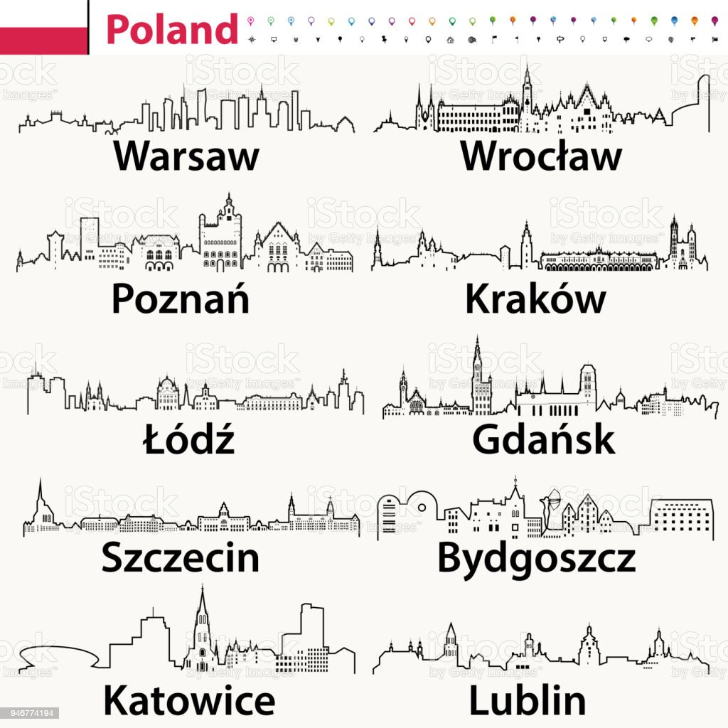 vector outline icons of Poland cities skylines with flag of Poland