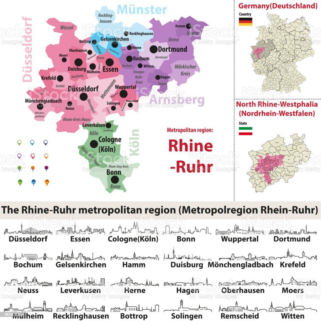 ícones de contorno vetor de skylines de cidades da região metropolitana Reno-Ruhr - Vetor de Alemanha royalty-free
