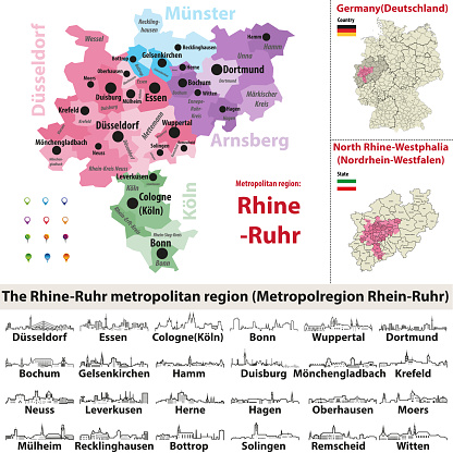 vector outline icons of Rhine-Ruhr metropolitan region cities skylines