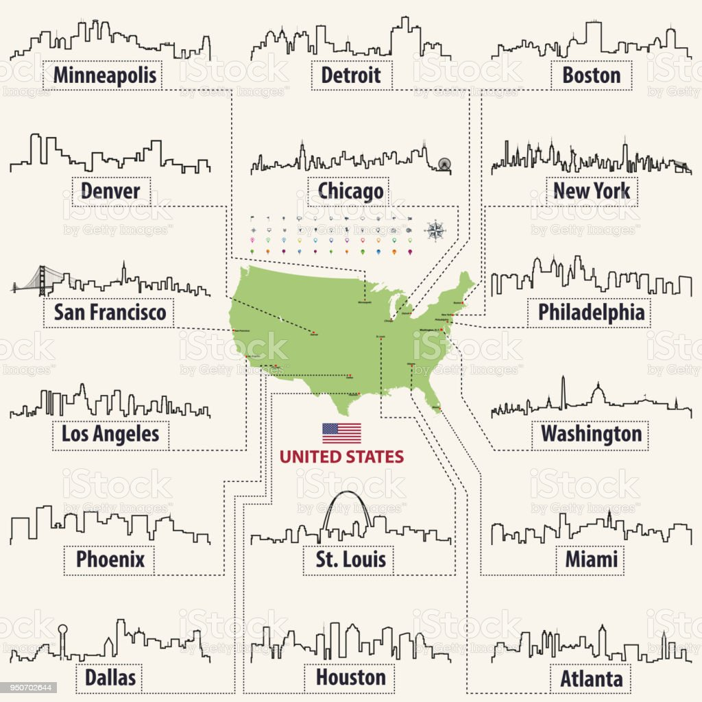 vector outline icons of United States cities skylines with map and flag of Unitedstates of America vector art illustration