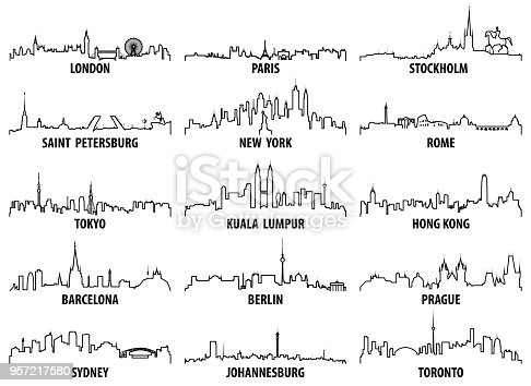 istock vector outline icons of world cities skylines 957217580