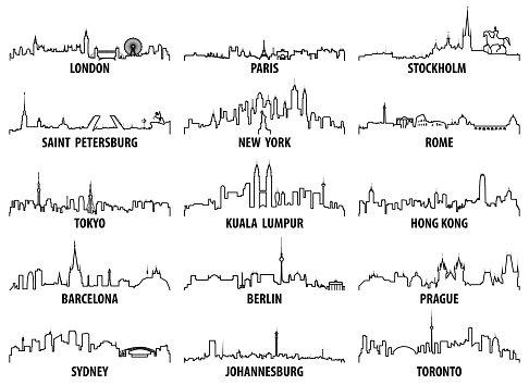 vector outline icons of world cities skylines