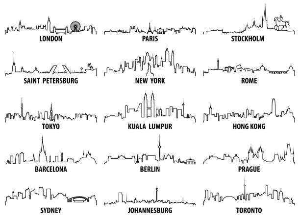 vector outline icons of world cities skylines vector art illustration