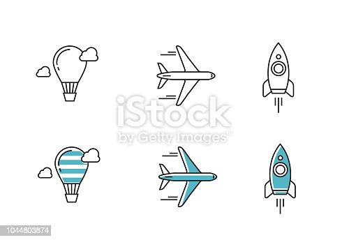 vector outline icons flying objects simple flat modern style