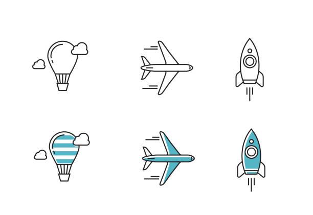 ilustraciones, imágenes clip art, dibujos animados e iconos de stock de vector iconos de contorno - avión